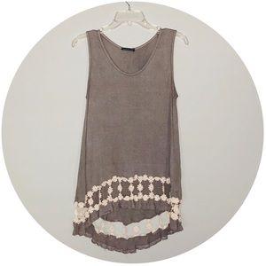Tops - Basil Lola Hi-Low Tank w/ Flower Crochet Detail M